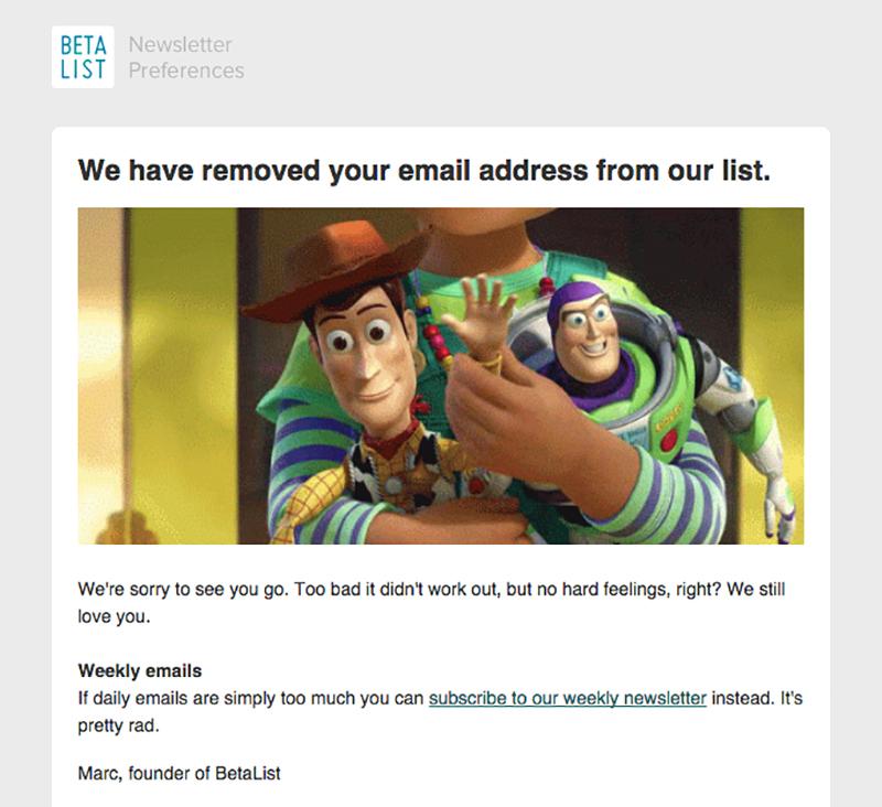 Abmelde-Option eines Newsletters