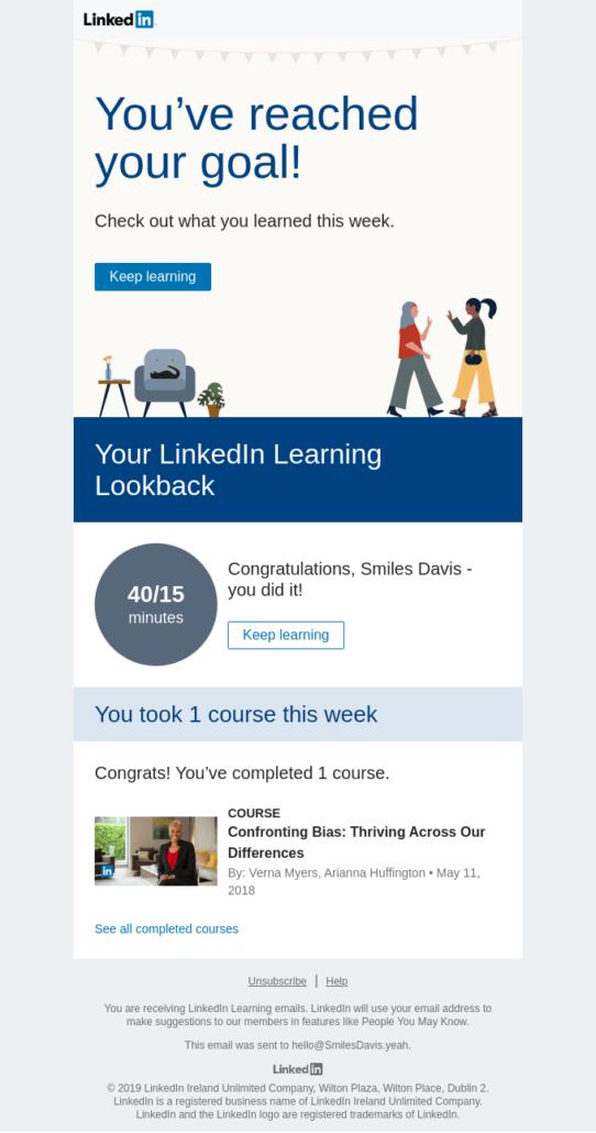 E-Mail-Personalisierung von LinkedIn